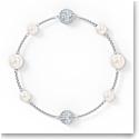 Swarovski Remix Bracelet Pearl Strand, White, Rhodium Plated