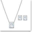 Swarovski Angelic Necklace and Earrings Set, White, Rhodium Plated