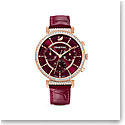 Swarovski Watch Passage Chrono Stainless Case Burgundy Sunray Dial, Burgundy Leather Strap
