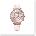 Swarovski Watch Passage Chrono Stainless Case Mother of Pearl Dial, Rose Gold, Pink Leather Strap