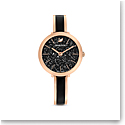 Swarovski Watch Crystalline Delight Rose Gold Stainless Case, Black Crystal, Stainless Bangle Black Enamel