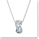 Swarovski Twist Rows Pendant Necklace, Blue, Rhodium Plated