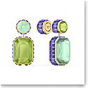 Swarovski Orbita Earrings, Asymmetrical, Octagon Cut Crystal, Multicolored, Gold-Tone Plated, Set