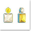 Swarovski Orbita Earrings, Asymmetrical, Square Cut Crystal, Multicolored, Gold-Tone Plated, Set