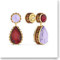 Swarovski Orbita Earrings Asymmetrical, Drop Cut Crystals, Multicolored, Gold-Tone Plated, Set