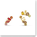 Swarovski Gema Clip Earrings, Asymmetrical, Multicolored, Gold-Tone Plated, Set