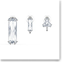Swarovski Mesmera Clip Earring Singles Set of 3, Baguette Cut Crystal, White, Rhodium Plated