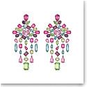 Swarovski Gema Clip Earrings, Chandelier, Multicolored, Rhodium Plated, Pair