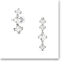 Swarovski Millenia Drop Earrings, Asymmetrical, Set, White, Rhodium Plated, Pair