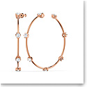 Swarovski Constella Hoop Earrings, White, Rose-Gold Tone Plated, Pair