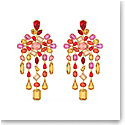 Swarovski Gema Clip Earrings, Chandelier, Multicolored, Gold-Tone Plated, Pair