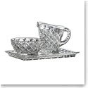 Galway Crystal Ashford Sugar, Creamer and Tray Set