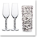 Orrefors Carat Champagne Flutes Pair and Vase, Set