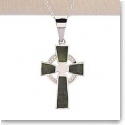 Cashs Ireland, Sterling Silver Cross Necklace With Connemara Marble Inlay