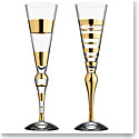 Orrefors Clown Champagne Flute Gold, Set of 2