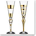 Orrefors Clown Champagne Flute Gold, Set of 2