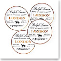 Ralph Lauren China RL London, Set of Four Canape Plates