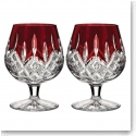 Waterford Crystal, Lismore Red Crystal Brandy, Pair