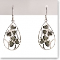 Cashs Ireland, Sterling Silver and Connemara Marble Lucky Shamrocks Earrings Pair