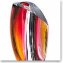 Kosta Boda Mirage Large Crystal Vase, Grey and Red