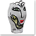 Kosta Boda Open Minds Crystal Vase, Clear and Yellow