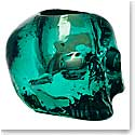 Kosta Boda Still Life Skull Crystal Votive, Green