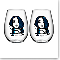 Kosta Boda All About You Stemless Wine Tumbler Pair, Miss You Blue