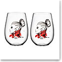 Kosta Boda All About You Stemless Wine Tumbler Pair, Want You Red