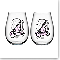 Kosta Boda All About You Stemless Wine Tumbler Pair, Love You Pink