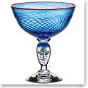 Kosta Boda Red Rim Brains Blue Footed Crystal Bowl