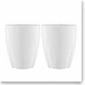 Kosta Boda Bruk Porcelain Mug With Oak Lid, Pair