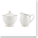 Lenox French Perle White Dinnerware Sugar And Cream