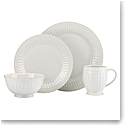 Lenox French Perle Groove White Dinnerware 4 Piece Place Setting