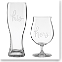 Lenox kate spade, Two of a Kind His and Hers Crystal Beer Glasses