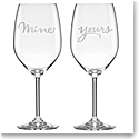 Kate Spade New York, Lenox Two of a Kind Yours and Mine Crystal Wine Glasses, Pair