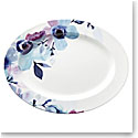 "Lenox Indigo Wtrclr Floral Dinnerware Oval Platter 16"""