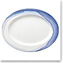 "Lenox Indigo Wtrclr Stripe Dinnerware Oval Platter 16"""