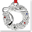Lenox Jeweled 2018 Silver Wreath Ornament