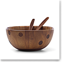Kate Spade by Lenox, All In Good Taste Wood Deco Dot Salad Bowl With Servers