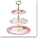 Royal Albert China New Country Roses Cheeky Pink Vintage 3-Tier Cake Stand