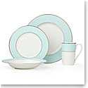 Lenox Pleated Colors Aquamarine Dinnerware 4 Piece Place Setting
