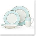 Lenox Pleated Colors Aquamarine Dinnerware 4 Piece Place Setting