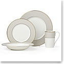 Lenox Pleated Colors Grey Dinnerware 4 Piece Place Setting