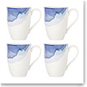 Lenox Indigo Watercolor Stripe Dinnerware Mugs, Set Of Four