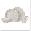 Lenox Chelse Muse Dinnerware Scallop Grey 4 Piece Place Setting