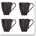 Lenox Chelse Muse Dinnerware Fleur Matt Black Mug Set Of Four