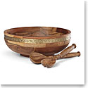 "Lenox Global Tapestry Wood Salad Bowl with Servers 15"""