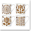 Lenox Global Tapestry Gold Dinnerware Dessert Mugs Set Of Four