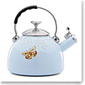 Lenox Butterfly Meadow Dinnerware Enamel Tea Kettle Blue