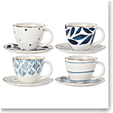 Lenox Blue Bay Dinnerware Espresso Cups And Saur Set Of Four